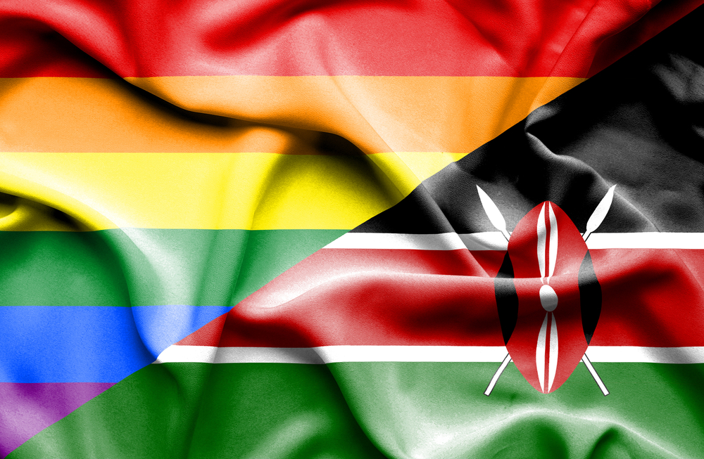 An illustration of the multi-colored gay rights flag and the flag of Kenya meeting on a diagonal.