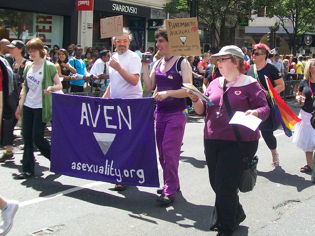Asexual activists and their supporters marched in Pride London in 2010.