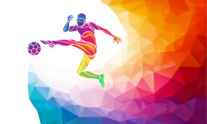 An image of a rainbow-colored silhouette kicking a soccer ball.