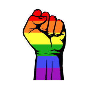 A fist decked out in rainbow colors.