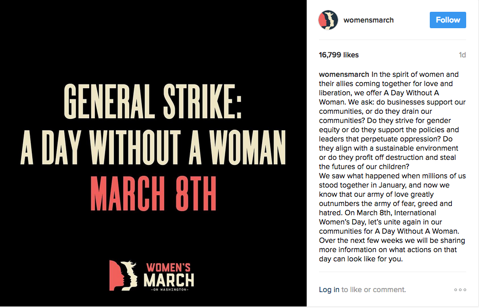 A screenshot taken from an Instagram post about the Day Without a Woman protest.