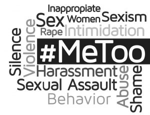 """The term """"#MeToo"""" surrounded by other words and phrases related to sexual harassment."""