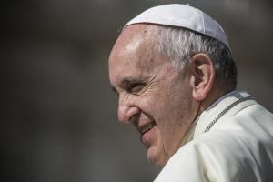 A photo of Pope Francis at a ceremony in the Vatican City.