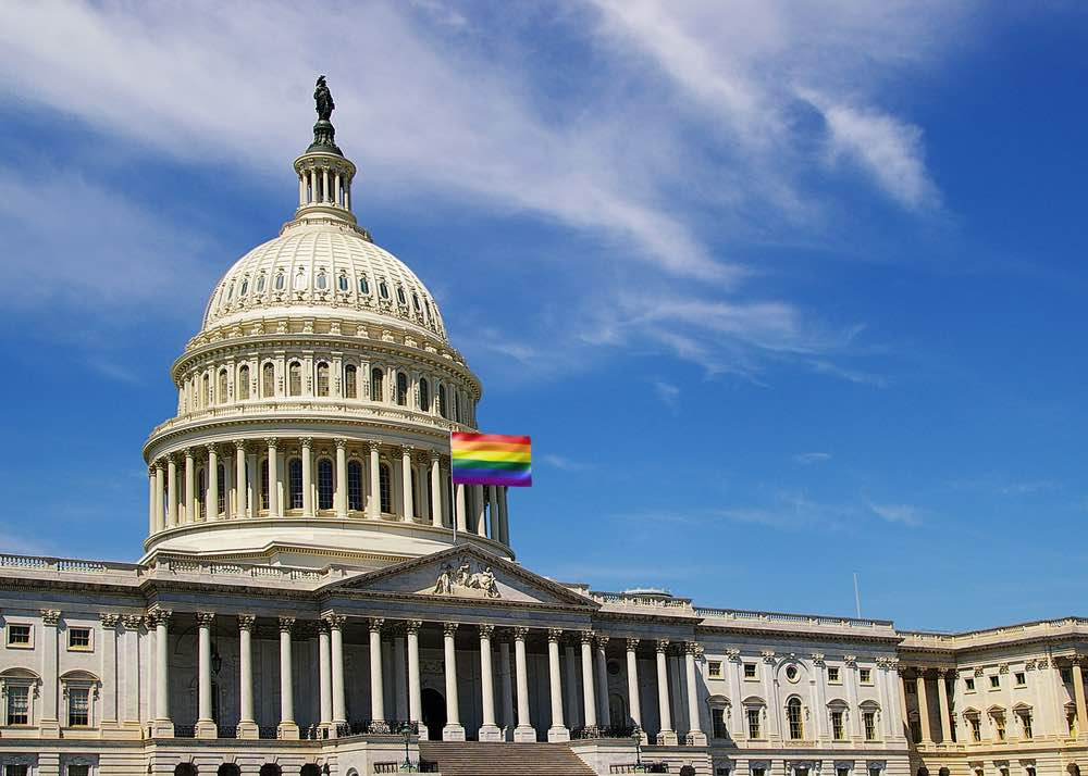 US Capitol building with rainbow flag image