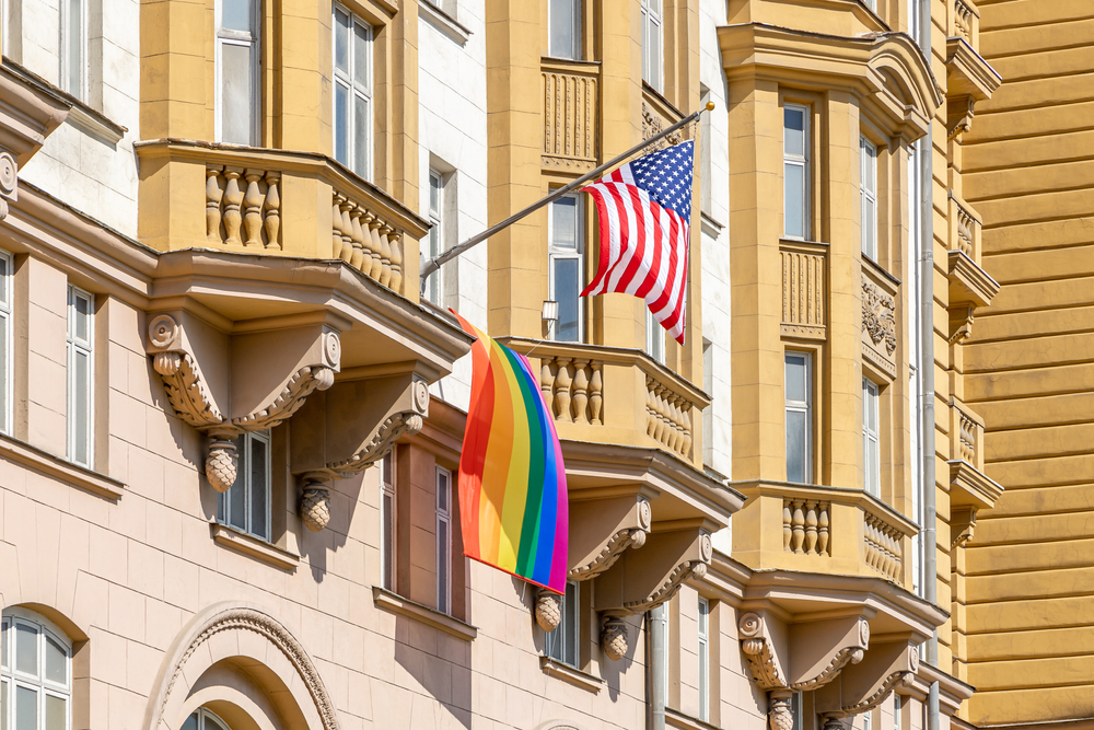 The U.S. Embassy in Moscow raised the pride flag while Russians were voting on a constitutional amendmend that would ban same-sex marriage.